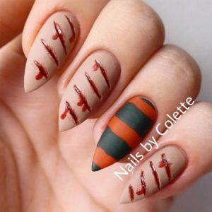 кървавочервени нокти за Хелоуин