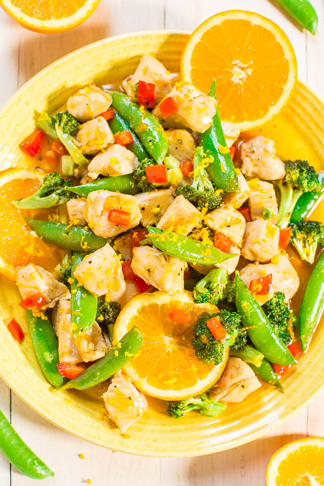 пиле с портокал и зеленчуци