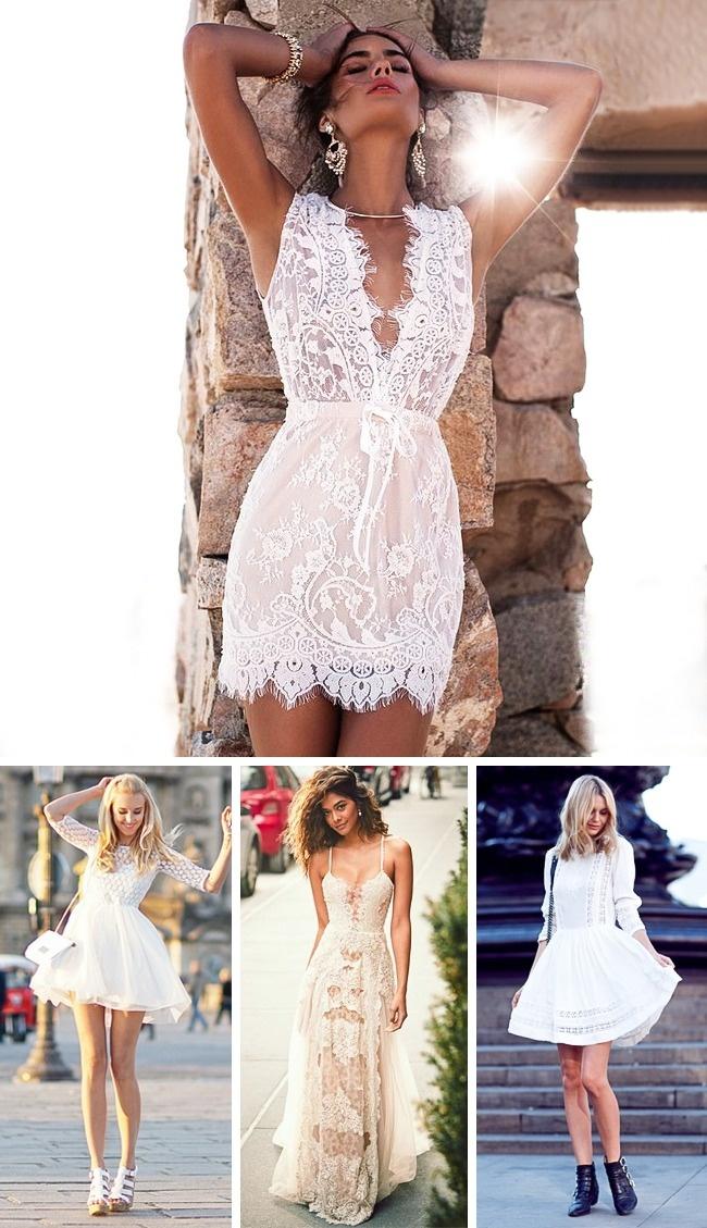 Бяла дантелена рокля