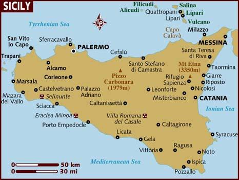 карта на Сицилия