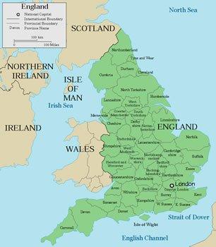 карта на Англия