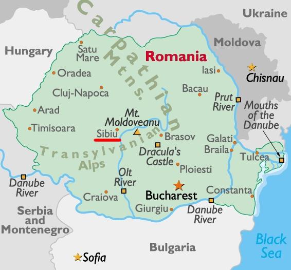 Сибиу на румънската карта